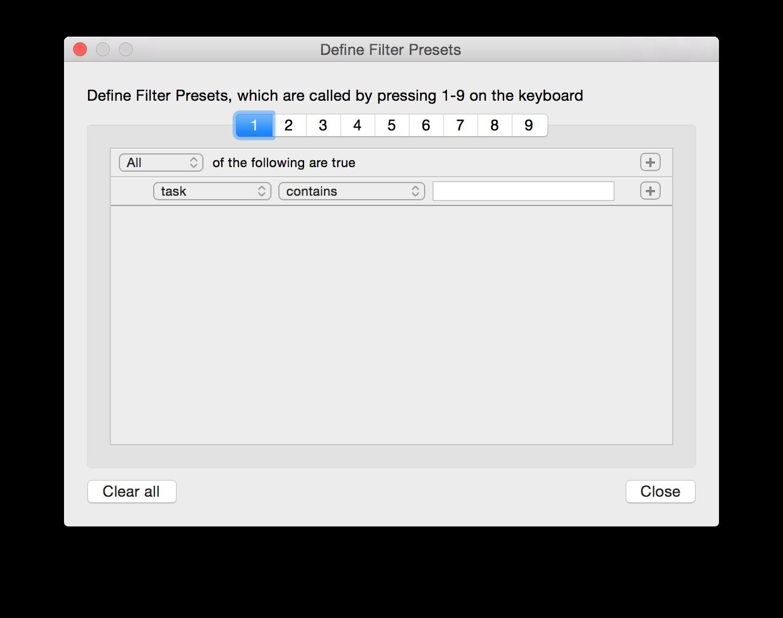 TodoTxtMac Filters Screenshot